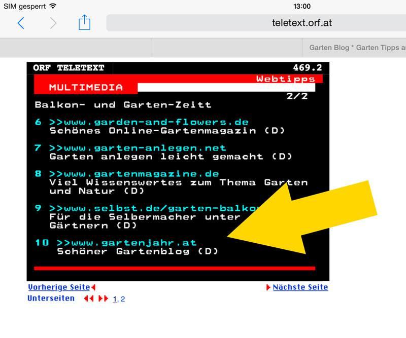 Gartenjahr im ORF Teletext